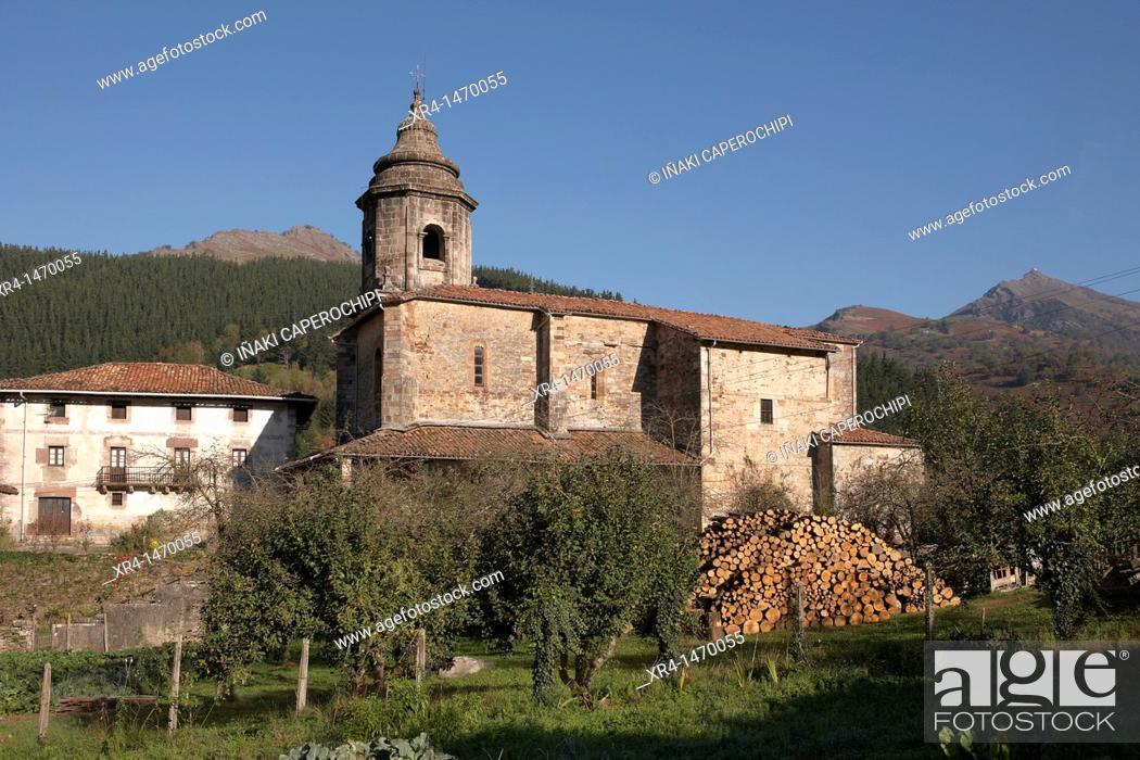 Stock Photo: Church of the Assumption, Zubieta, Navarre, Spain.