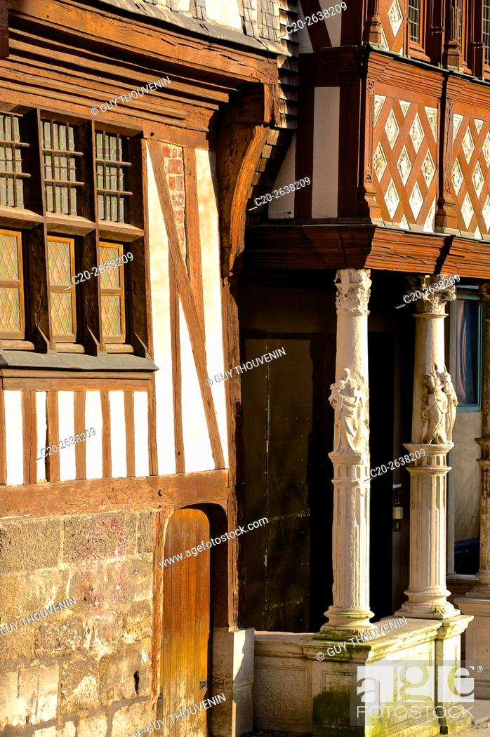 Stock Photo: Half timbered colored medieval facades, old town, Rouen, 76, Normandy, France.