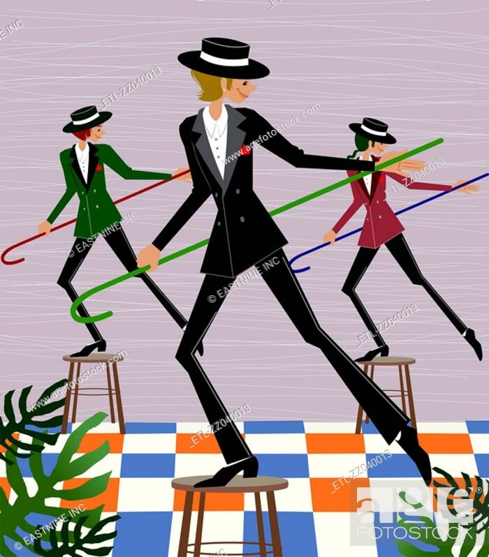 Stock Photo: Three people dancing on the stools with canes.