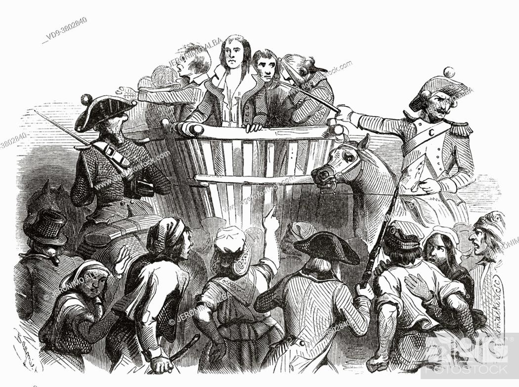 Stock Photo: Robespierre and his accomplices being led to their execution, 1794. France, French Revolution 18th century. Old engraved illustration from Histoire de la.