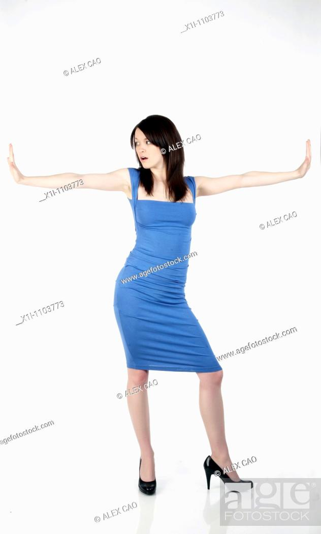 Stock Photo: Woman in blue dress.