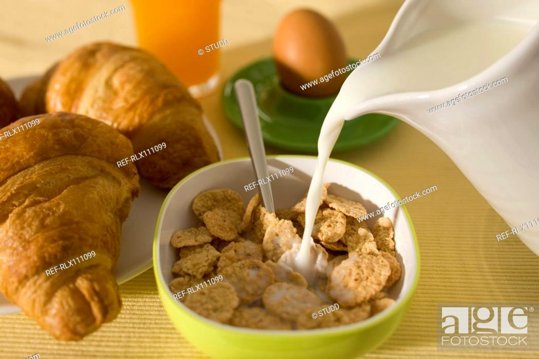 Stock Photo: Continental breakfast still life with cereal.