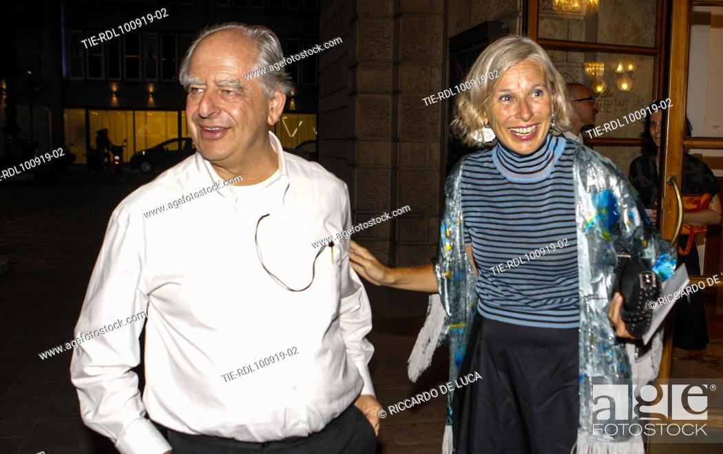 Stock Photo: The director William Kentridge and Giovanna Melandri arrive at the Premiere of theatrical performance ' Waiting for the Sibyl ' at Opera Theatre of Rome.