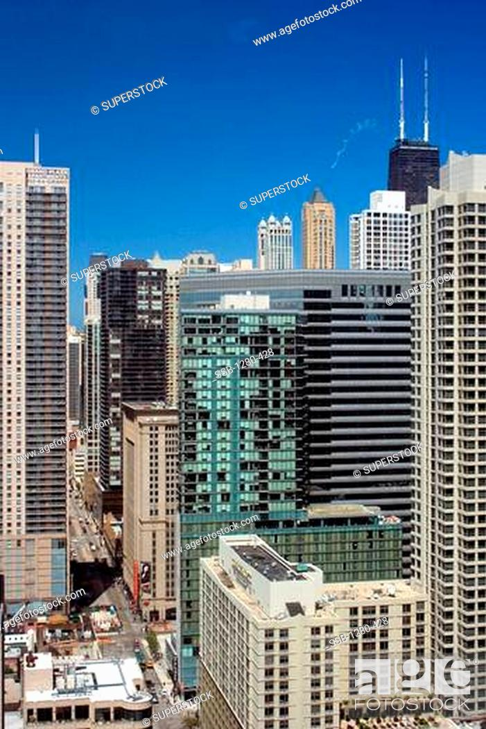 Stock Photo Buildings In A City Hotel Palomar Chicago Ama Building Willis Tower State Street Illinois Usa