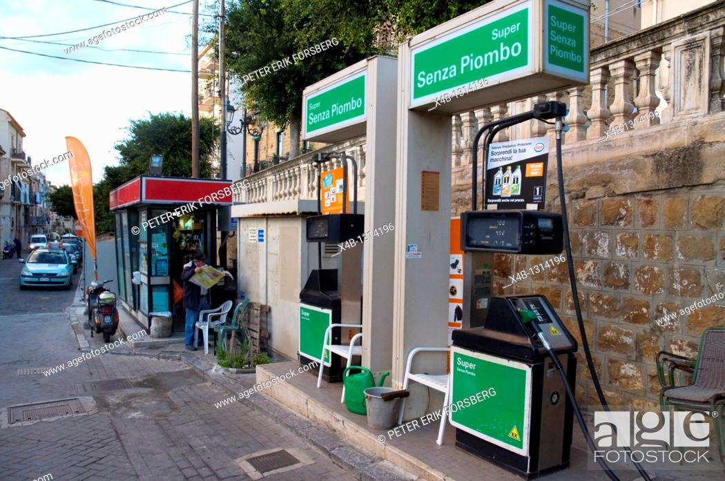 Gas petrol service filling station central Cefalu town