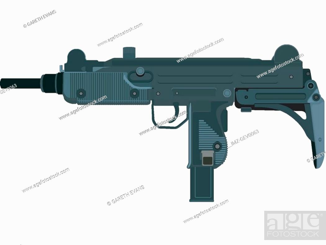 Stock Photo: A picture of a compact uzi submachine gun.