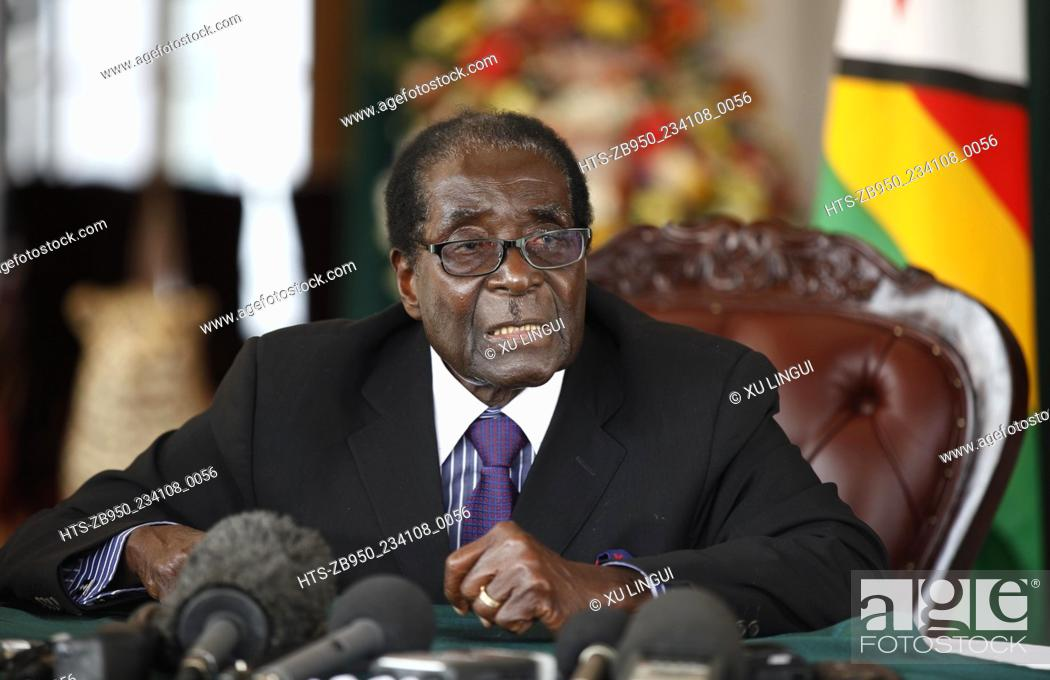 Stock Photo: (130912) -- HARARE, Sept. 12, 2013 () -- Zimbabwean President Robert Mugabe speaks to the press after inaugurating the new cabinet in Harare Sept.