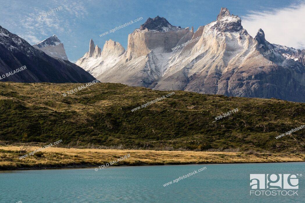 Stock Photo: cuernos del Paine, 2600 metros, trekking W, Parque nacional Torres del Paine,Sistema Nacional de Áreas Silvestres Protegidas del Estado de Chile.