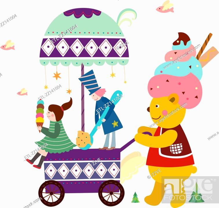 Stock Photo: Ice cream wagon.