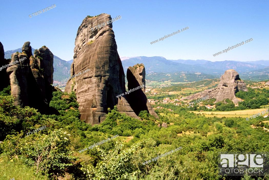 Stock Photo: Greece, Thessaly, Meteora, rock formations.