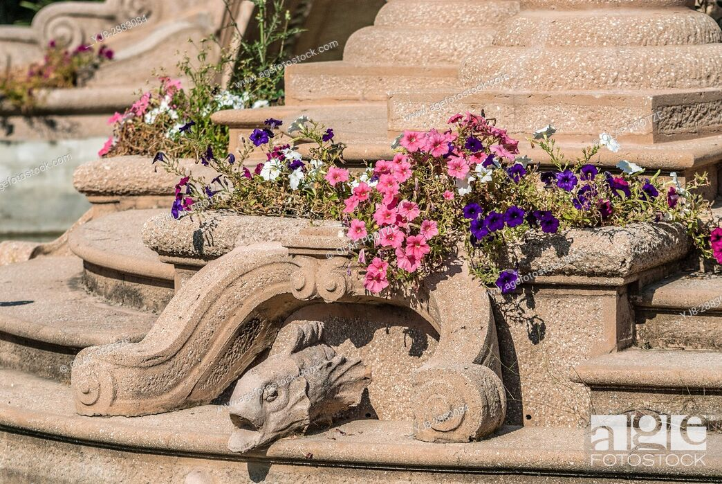 Stock Photo: Architectural Detail in the Park of the Villa Grock in Oneglia, Imperia, Liguria, Italy.