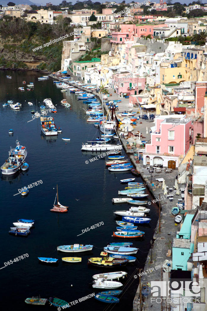 Stock Photo: Town view of Corricella port. Procida. Bay of Naples. Campania. Italy.