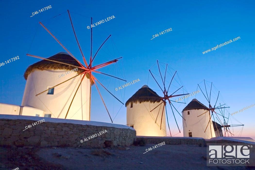 Stock Photo: Old windmills  Mykonos  Cyclades Islands  Greece.