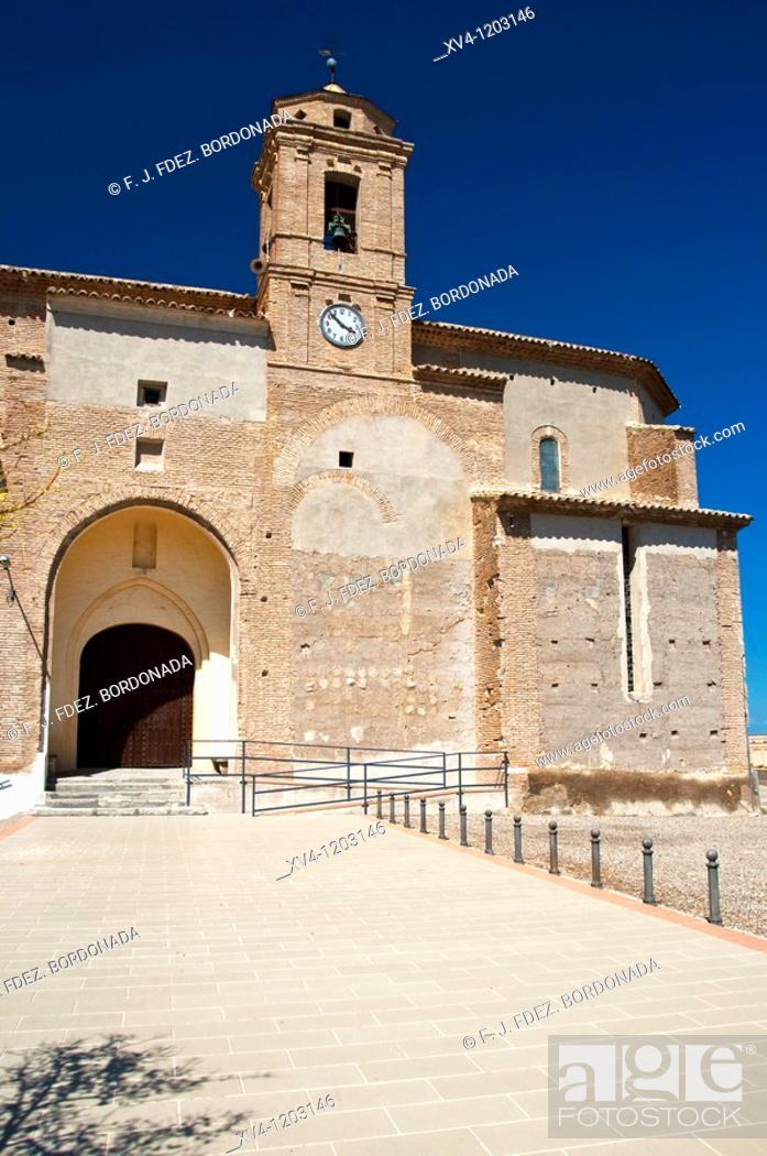 Stock Photo: La Almolda Nuestra Señora de la Luz Church  Zaragoza  Spain.