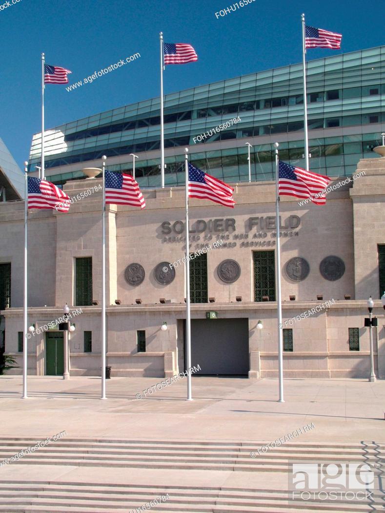 Stock Photo: Chicago, IL, Illinois, Windy City, Burnham Park, Soldier Field, NFL, Football, Chicago Bears.