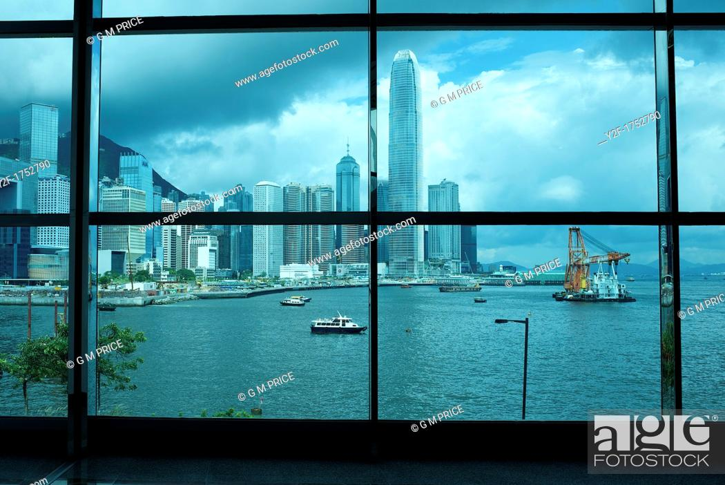 Stock Photo: view of Victoria Harbour from the Hong Kong Convention and Exhibition Centre.
