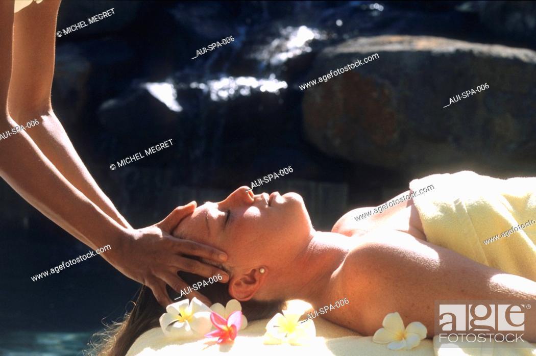 Stock Photo: Spa - Treatment - Massage- Hot coconut oil massage.