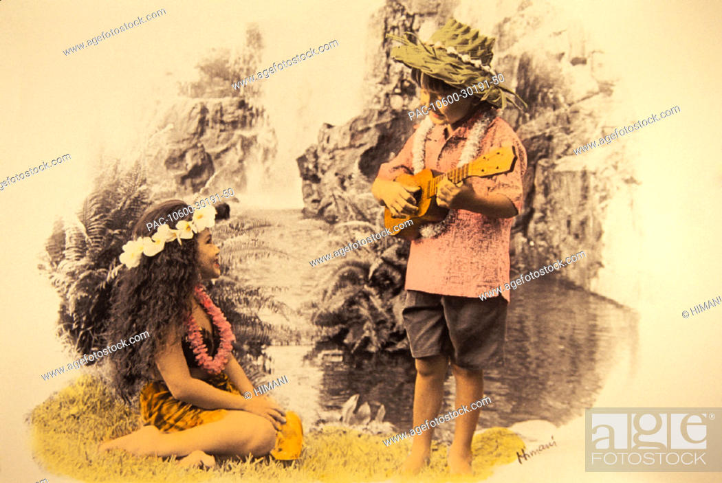 Stock Photo: Boy plays ukulele to girl sitting down in front of waterfall.