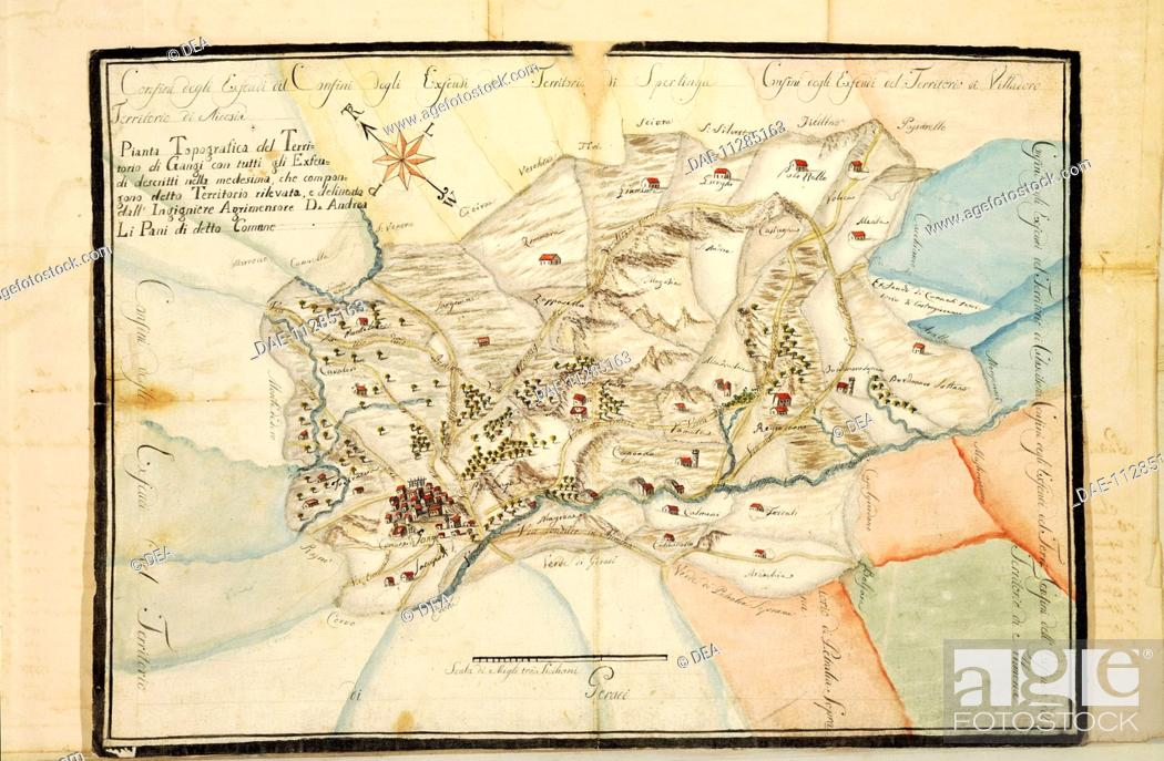 Cartography Italy Map Of The Gangi Area Palermo Palermo Stock