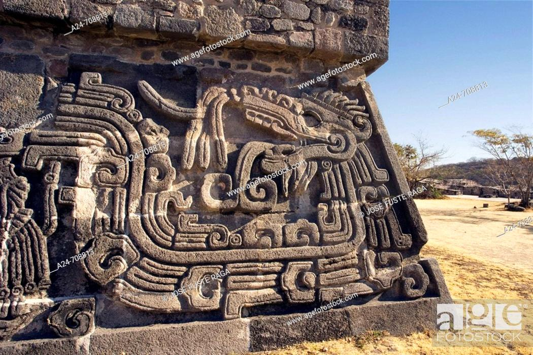Stock Photo: Near Cuernavaca City. Ceremonial Center of Xochicalco. Quetzalcoatl Piramid. Mexico.