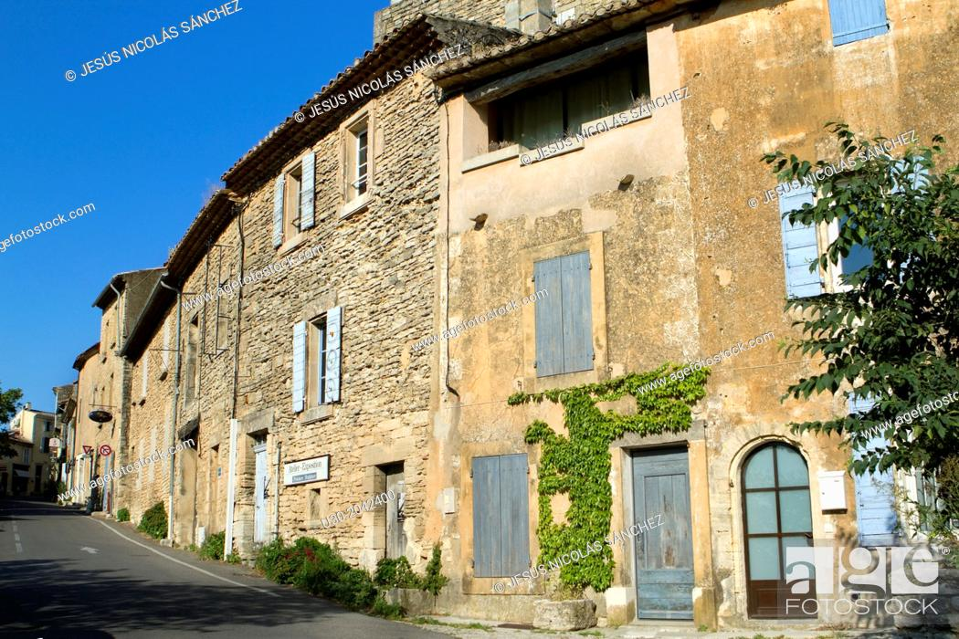 Stock Photo: Street of Gordes village, labeled The Most Beautiful Villages of France, Vaucluse department, Provence-Alpes-Cote d'Azur region. France.
