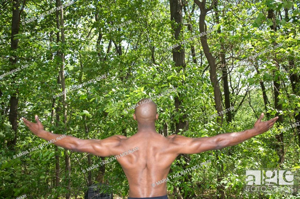 Stock Photo: african american young man with muscles.
