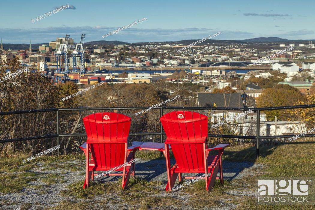 Stock Photo: Canada, New Brunswick, Saint John, skyline from the Carleton Martello Tower with red lawn chairs.