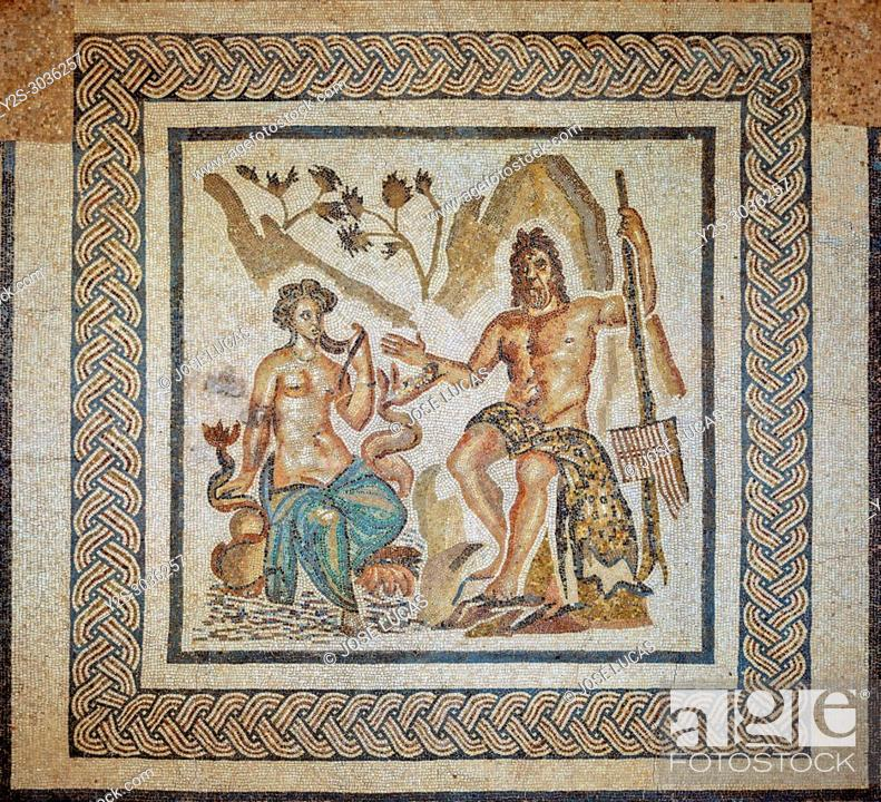 Stock Photo: Alcazar de los Reyes Cristianos, Mosaics room, Roman mosaic of Polyphemus and Galatea, Cordoba, Region of Andalusia, Spain, Europe.