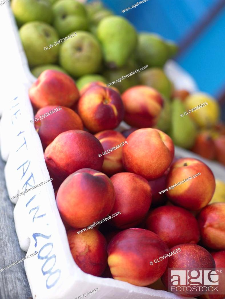 Stock Photo: Close-up of fruits in fruit cartons, Providencia, Providencia y Santa Catalina, San Andres y Providencia Department, Colombia.