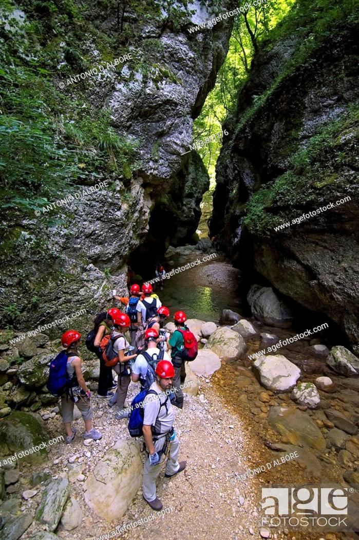 Stock Photo: a group of people in the gorge of caccaviola province of benevento campania italy europe.