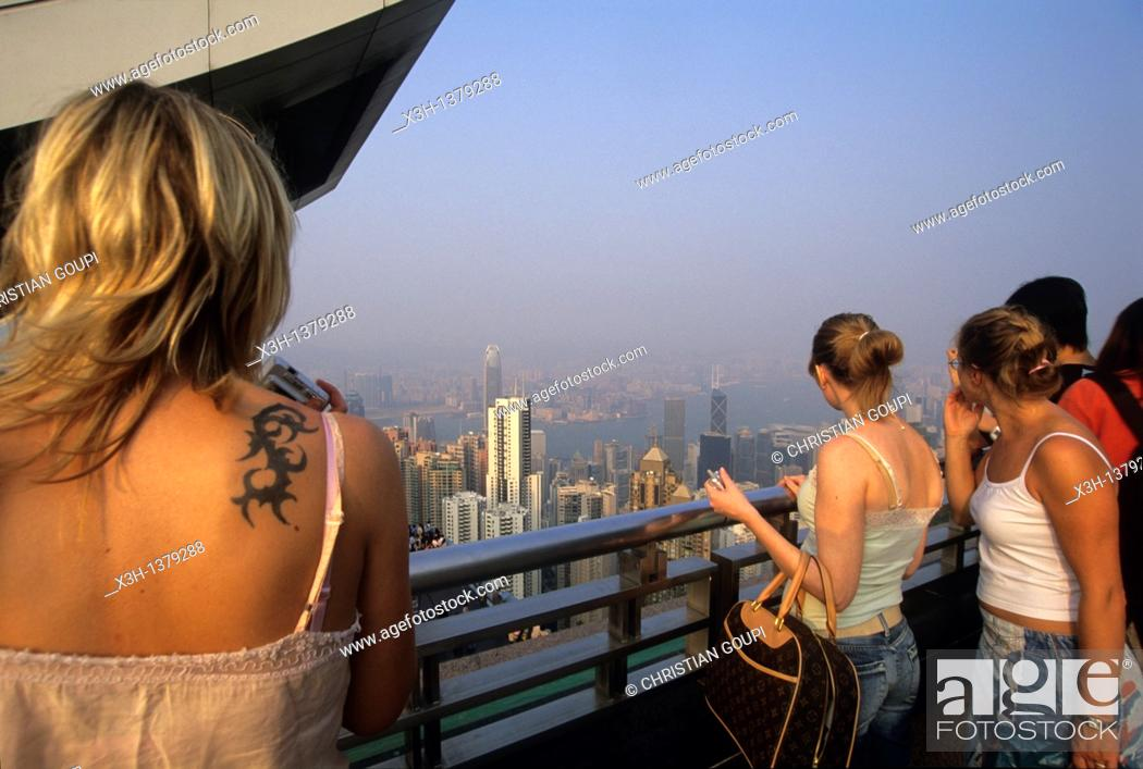 Stock Photo: terrace on Victoria Peak, looking over Central district, Hong-Kong Island, People's Republic of China, Asia.
