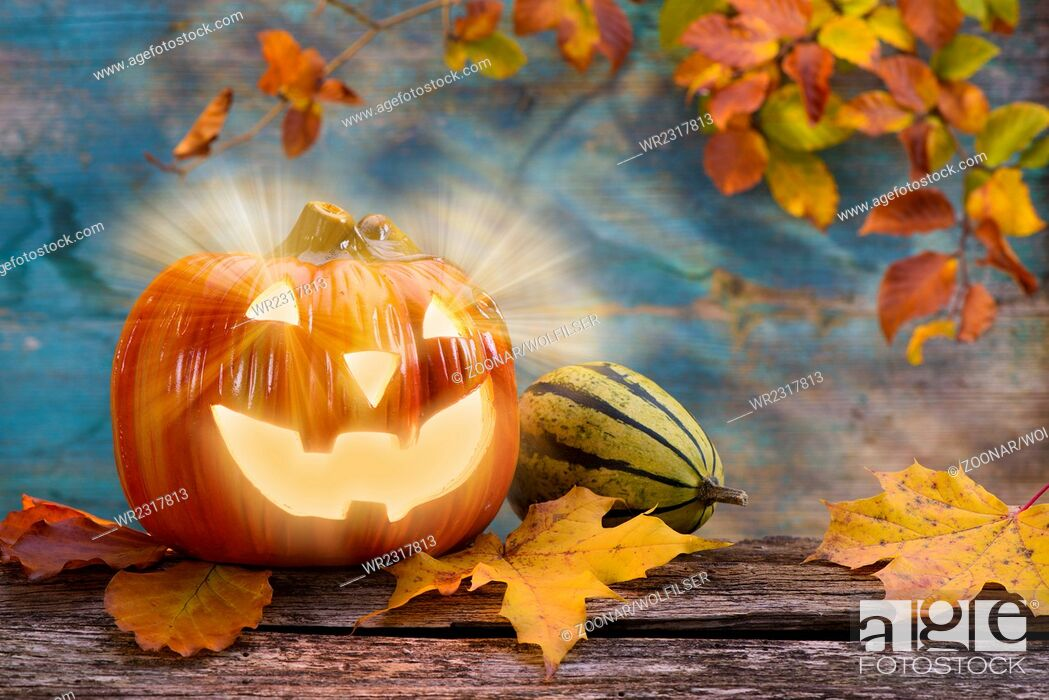Stock Photo: Halloween with pumpkin.