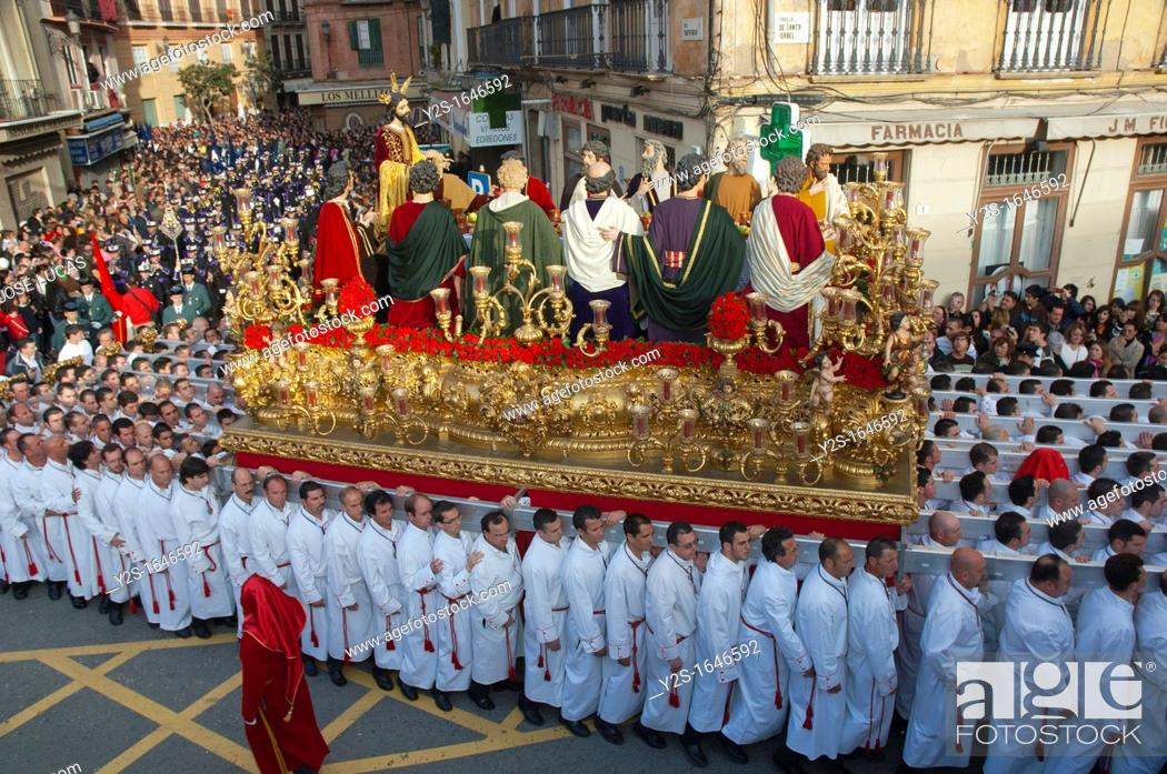 Stock Photo: Holy Week, Brotherhood of The Last Supper, Malaga, Region of Andalusia, Spain, Europe.