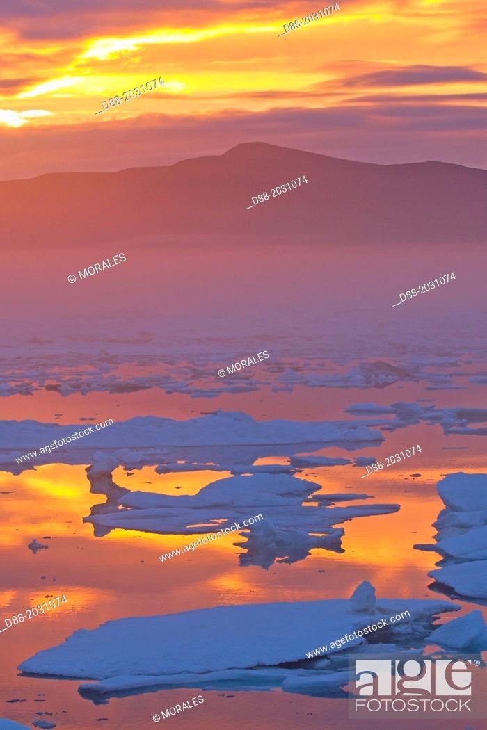 Stock Photo: Russia , Chukotka autonomous district , Wrangel island , Pack ice at sunset.