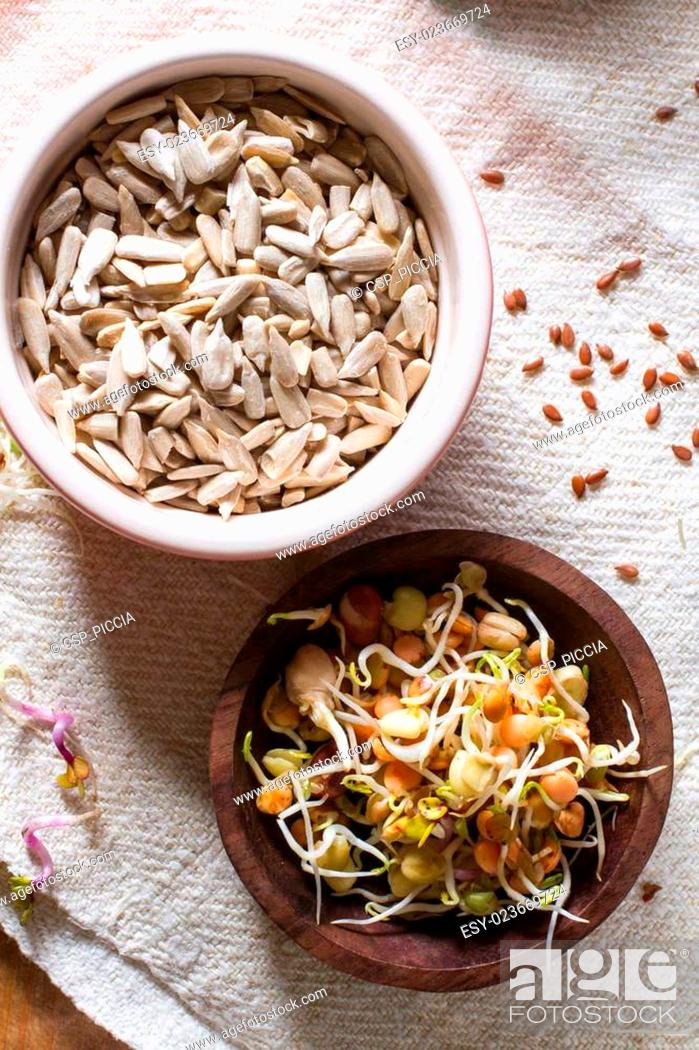 Stock Photo: Healthy seeds and sprouts.