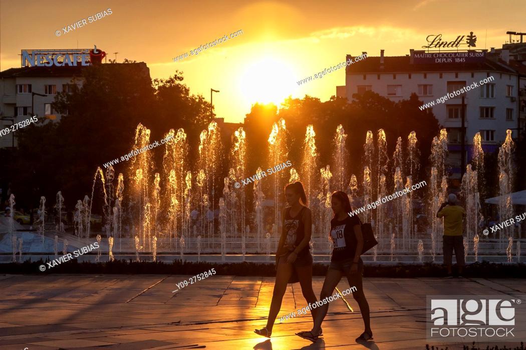 Stock Photo: Sunset, NDK Water Cascade, Sofia, Bulgaria.