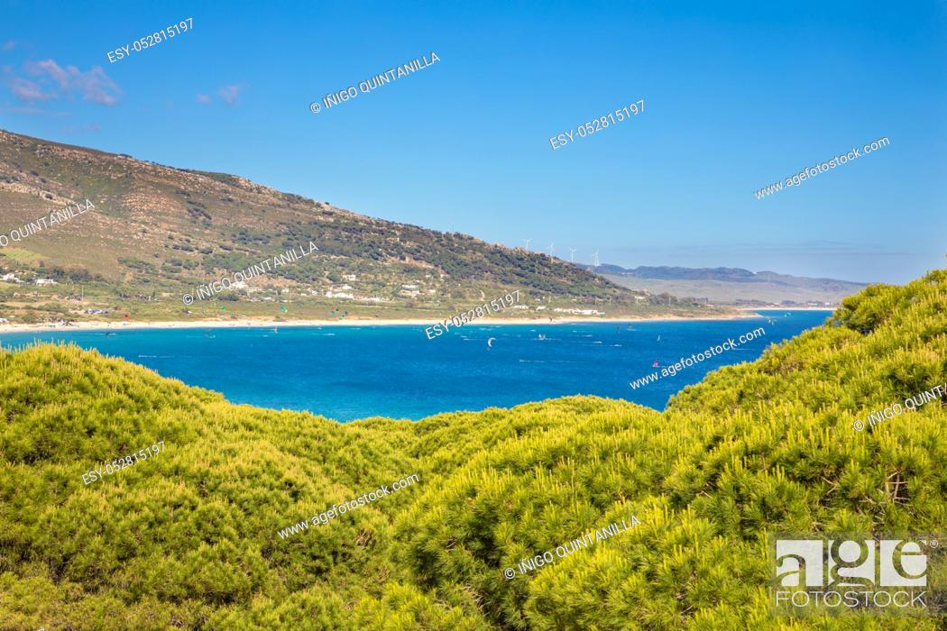 Stock Photo: landscape of beautiful wild natural Beach Valdevaqueros in Tarifa (Cadiz, Andalusia, Spain), one of the best places in Europe for kite surfers and windsurfers.