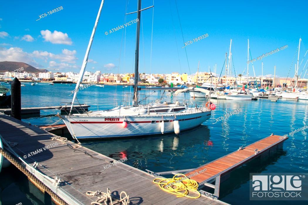Stock Photo: Port of Corralejo in Fuerteventura.