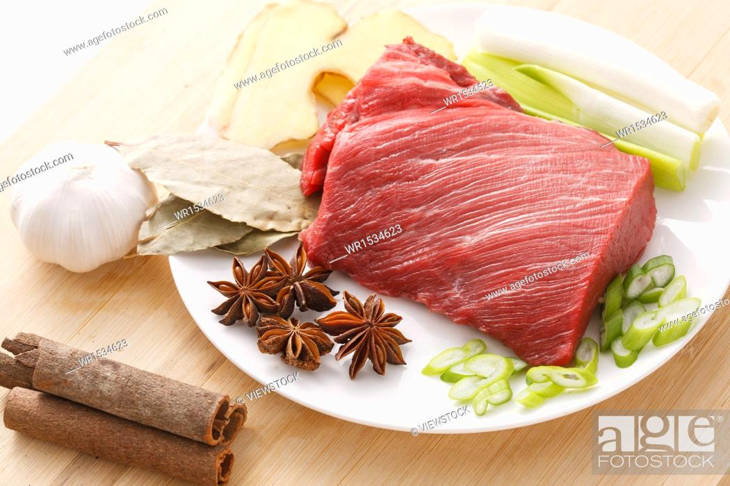 Stock Photo: Meat and spices.