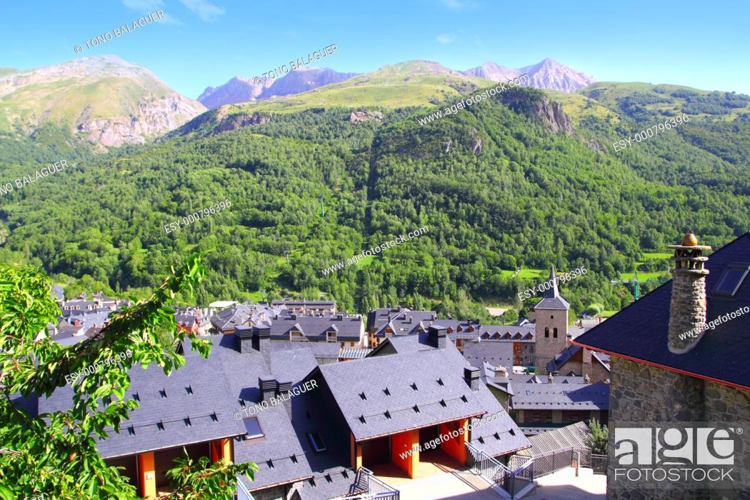 Stock Photo: Panticosa village high view slate roofs Pyrenees Huesca Spain.