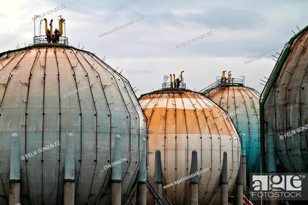 Stock Photo: Butane gas tanks, ditribution plant at Campa Torres, El Musel port Gijón, Asturias, Spain.