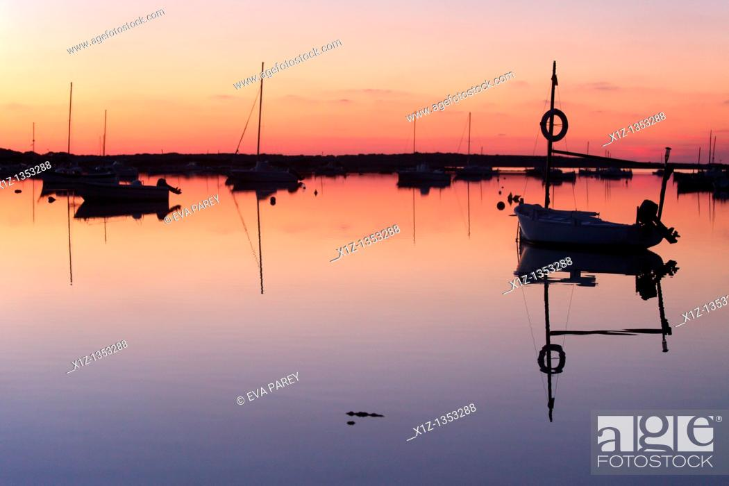 Stock Photo: A boat standing in the 'Estany of Peix' in Formentera a Balearic island of Spain.
