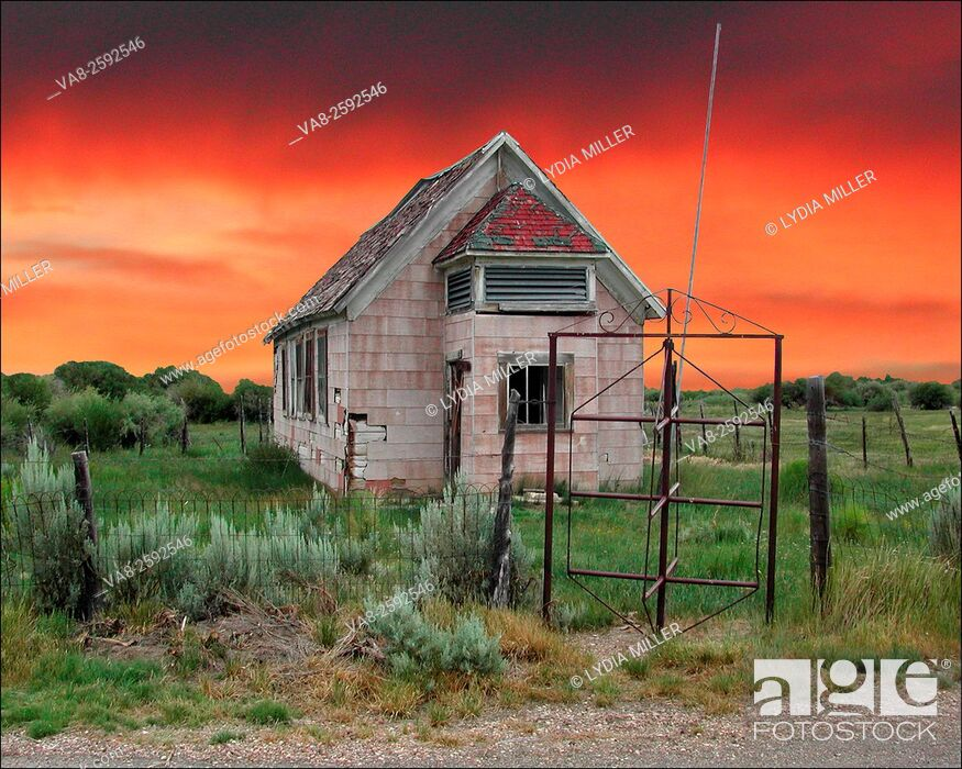 Stock Photo: Old school house in Jiggs, NV.