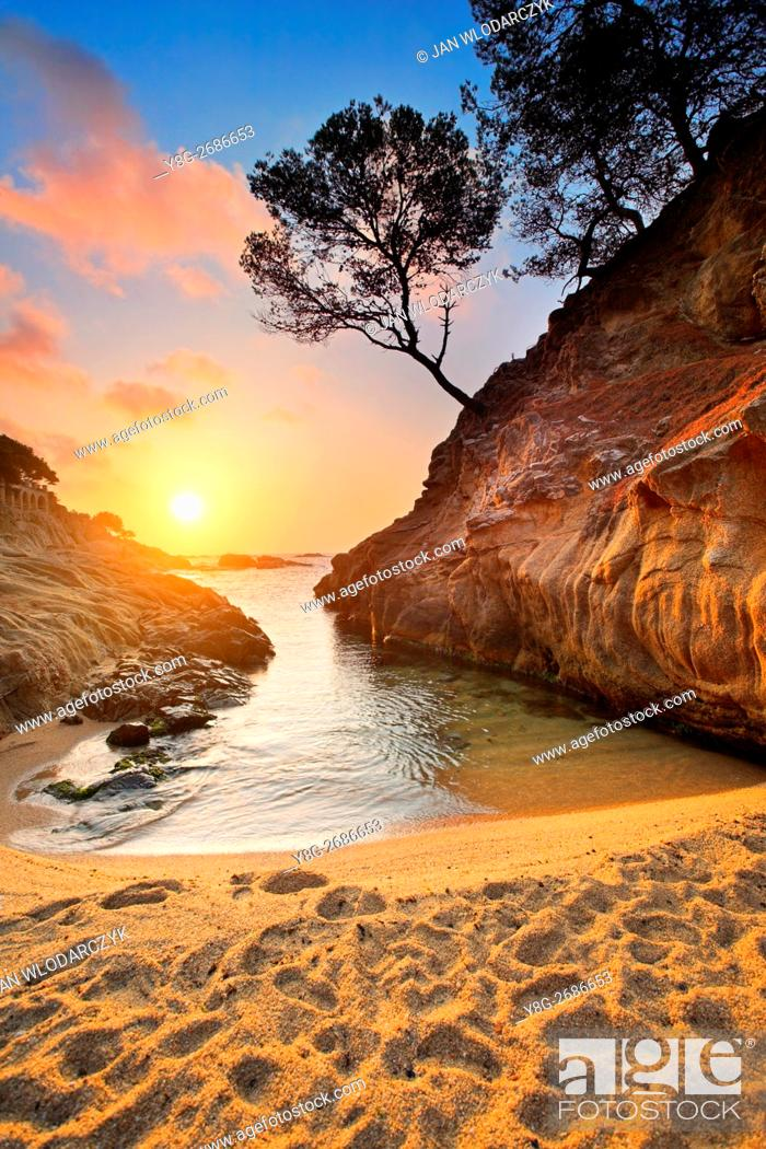 Stock Photo: Sunrise at Costa bava beach, Spain.