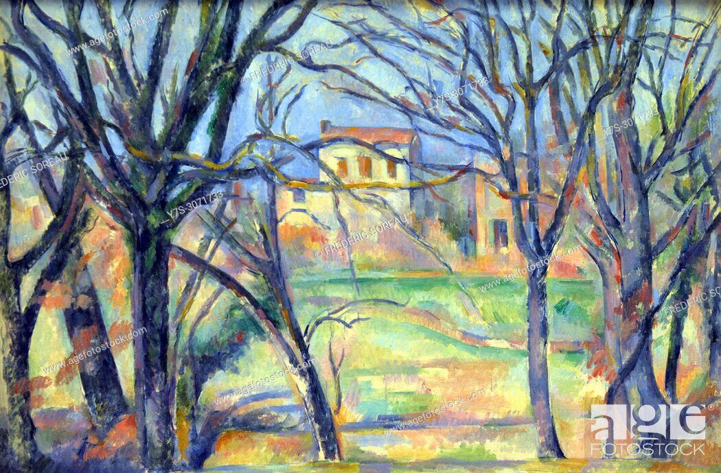 Stock Photo: Arbres et Maisons, Paul Cézanne (1839-1906), in the Orangerie Museum, The Tuileries, Paris, France.