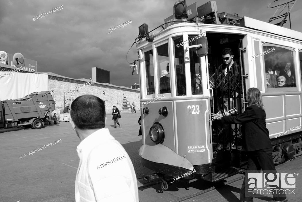 Stock Photo: Historical Tram in Istanbul-Taksim Square.