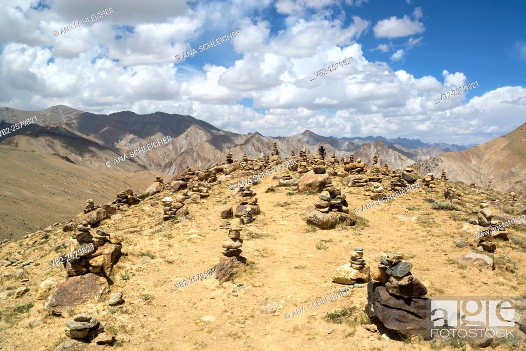 Stock Photo: Stone piles. Trekking in Markha valley (Laddakh, India).