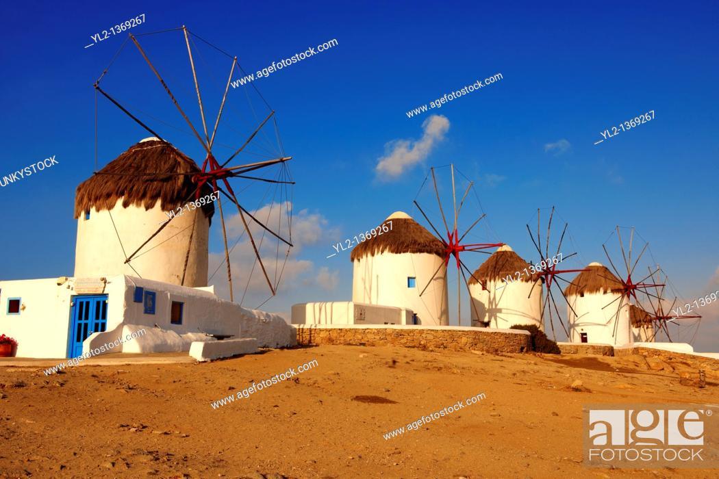 Stock Photo: The traditional Greek windmills of Mykonos Chora  Cyclades Islands, Greece.