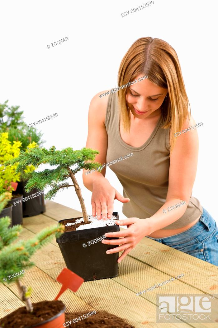 Stock Photo: Gardening - woman with bonsai tree and plants.