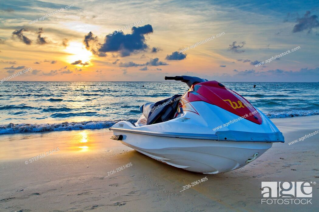 Stock Photo: Jetski at Sunset Light at Karon Beach on Phuket, Thailand.